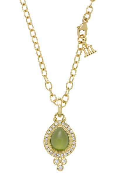 Temple St. Clair - Yellow Gold Peridot Diamond Drop Pendant