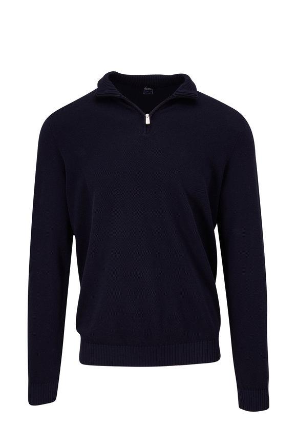 Fedeli Navy Cotton Quarter-Zip Pullover
