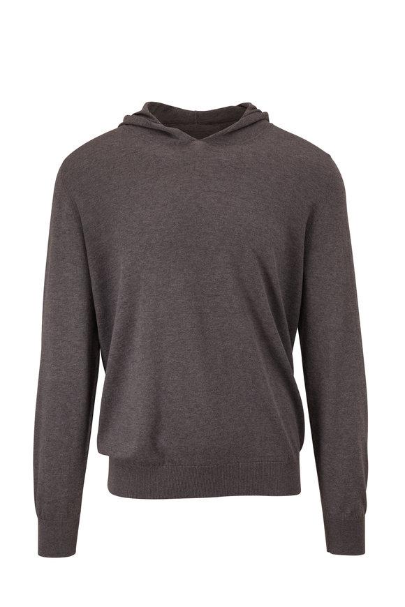 Corneliani Sleek Gray Cotton & Cashmere Hoodie