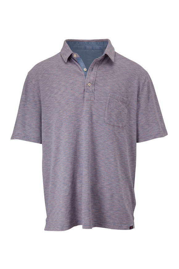 Faherty Brand Indigo Red Stripe Short Sleeve Polo