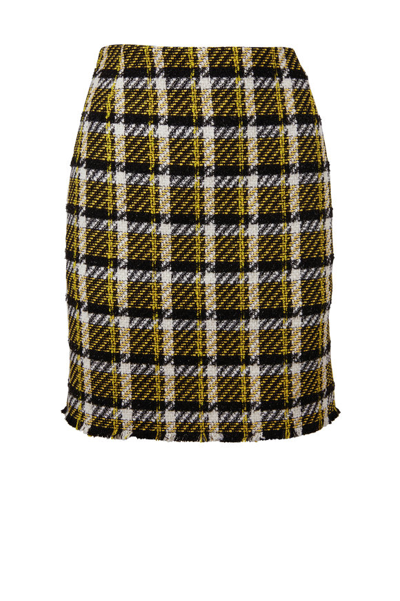 Akris Punto Black & Yellow Check Tweed Mini Skirt