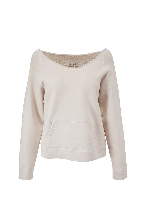 Nili Lotan Tiara Chalk White V-Neck Sweatshirt