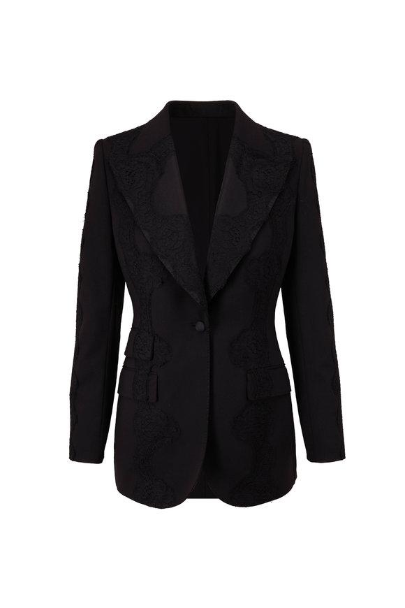 Dolce & Gabbana Black Lace Detail Peak Lapel Blazer