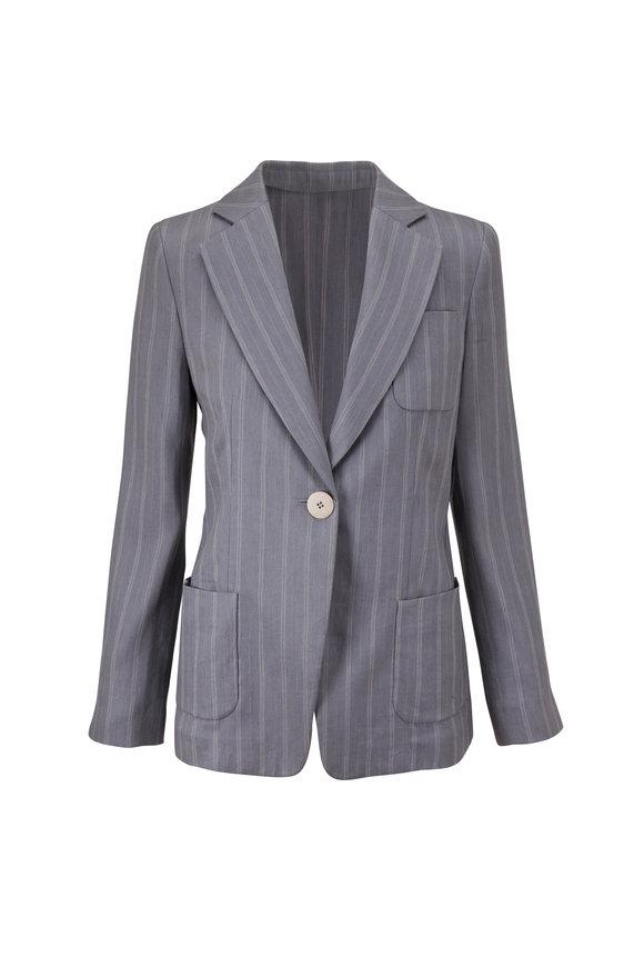 Giorgio Armani Gray/Blue Stripe Stretch Linen Jacket