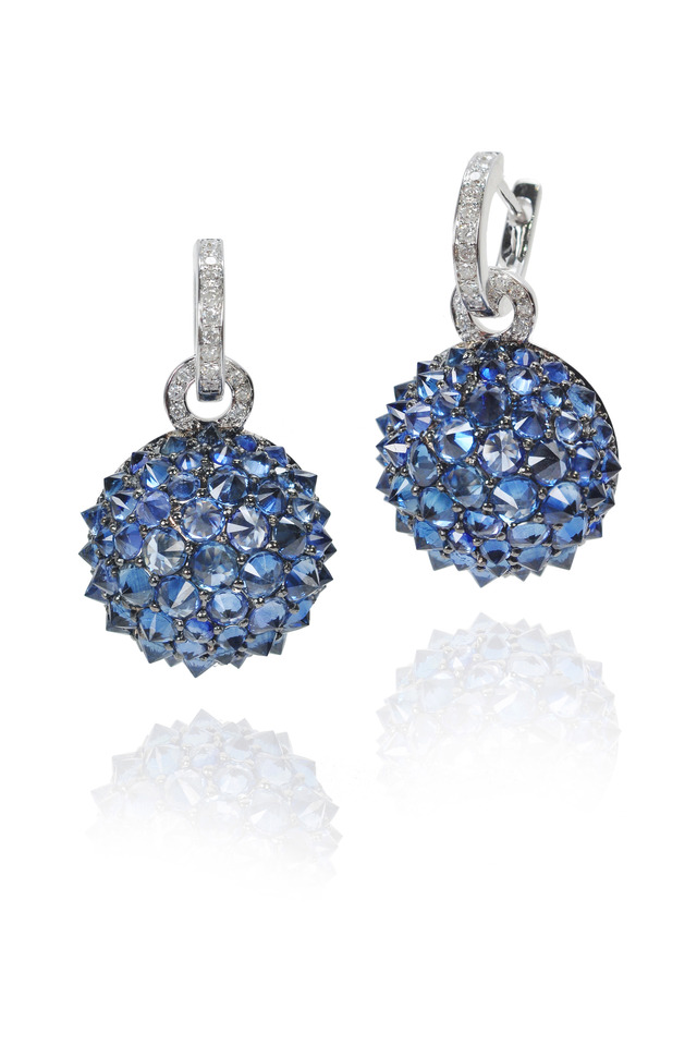 White Gold Sapphire Spike Ball Earrings