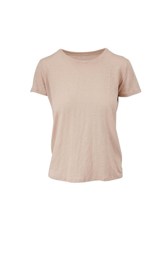 Majestic Sable Stretch Linen Crewneck T-Shirt