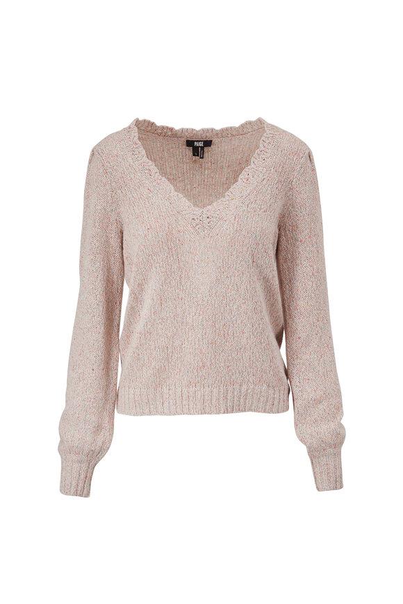 PAIGE Alicia Ivory Multi V-Neck Sweater