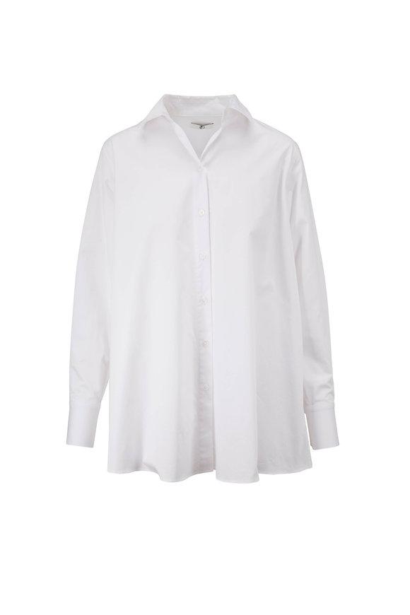 CO Collection Essentials White Cotton A-Line Button Down Blouse
