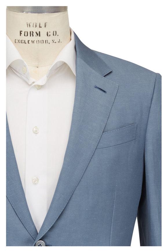 Ermenegildo Zegna Light Blue Wool & Linen Suit