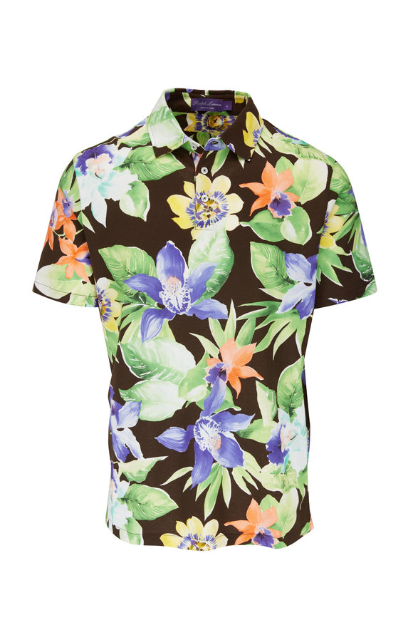 Ralph Lauren Brown Multi Floral Print Polo