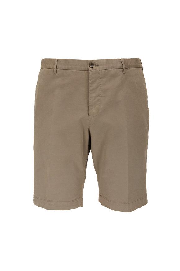 PT Torino Tan Stretch Cotton & Silk Bermuda Shorts