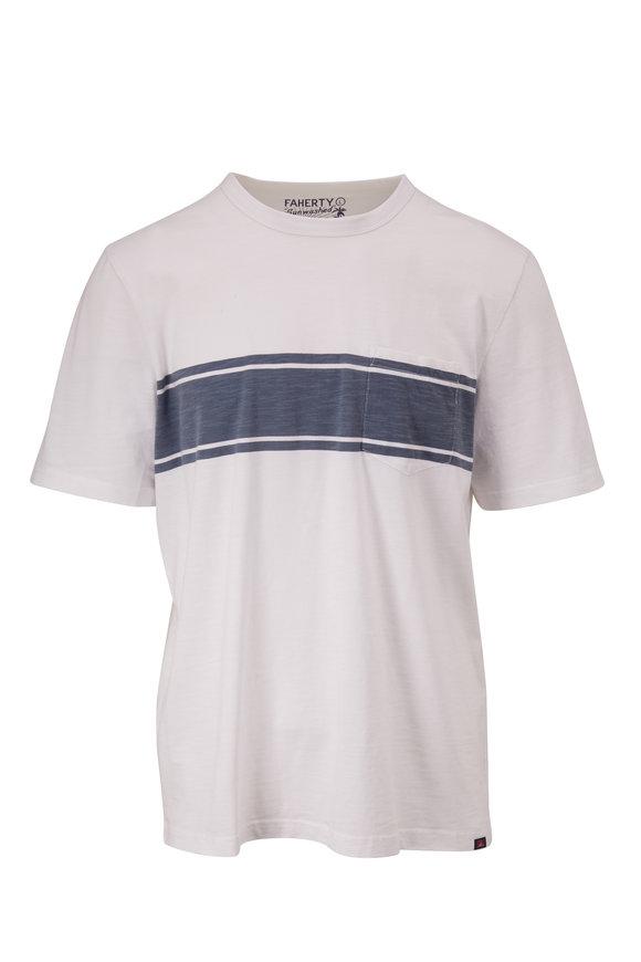 Faherty Brand Surf White Short-Sleeve Stripe Pocket T-Shirt
