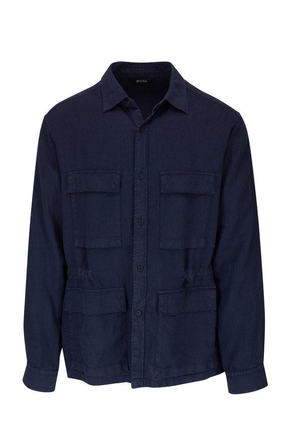 Z Zegna Navy Utility Linen Over Shirt