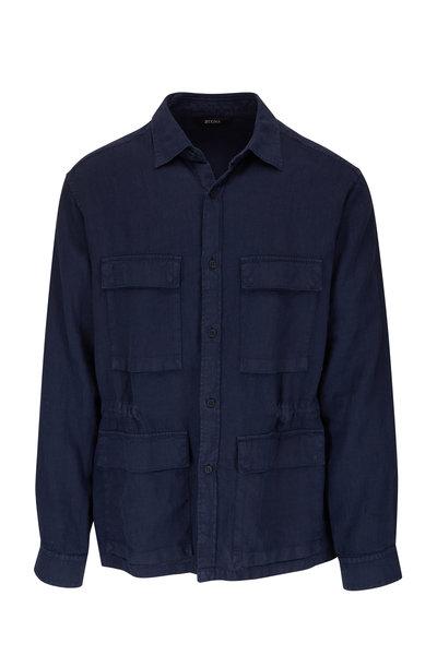 Z Zegna - Navy Utility Linen Over Shirt