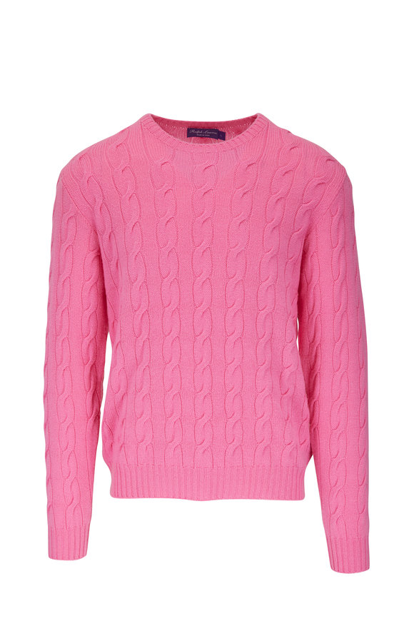 Ralph Lauren Pink Cable Knit Crew Sweater