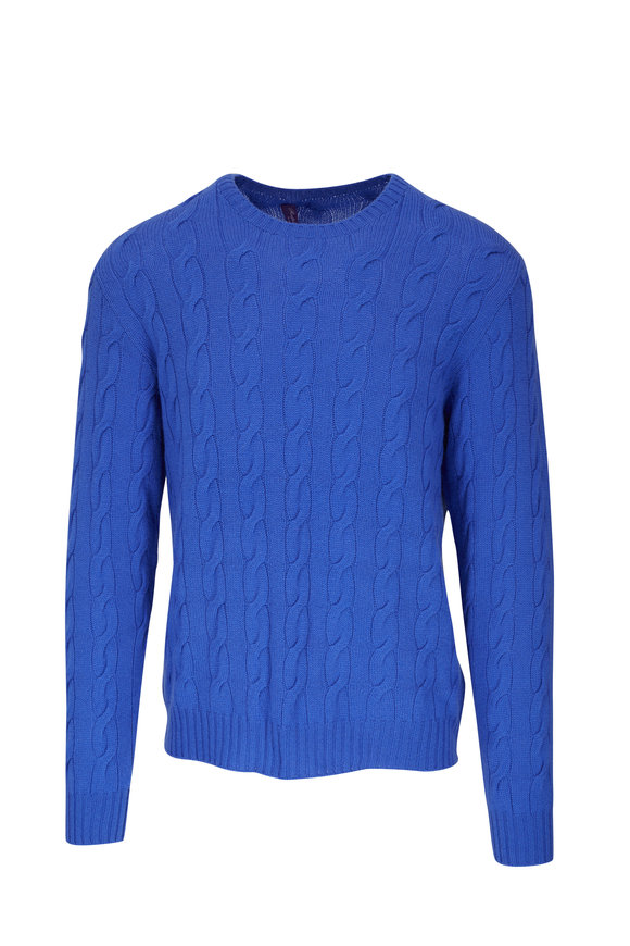 Ralph Lauren Blue Cable Knit Crewneck Sweater