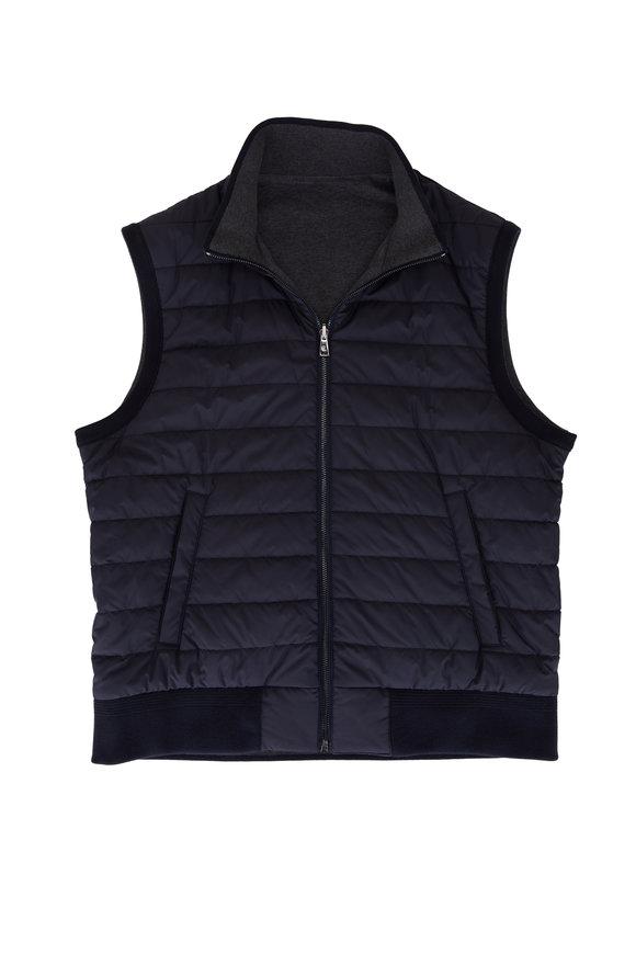 Ralph Lauren Navy & Dark Gray Quilted Reversible Vest