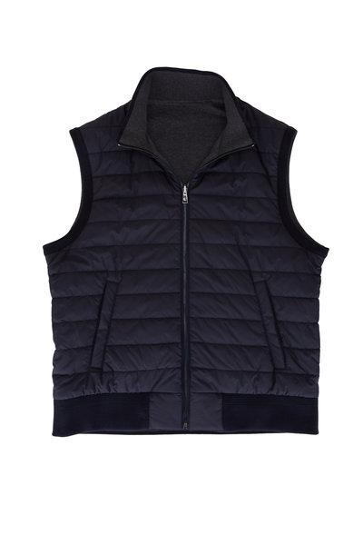 Ralph Lauren - Navy & Dark Gray Quilted Reversible Vest