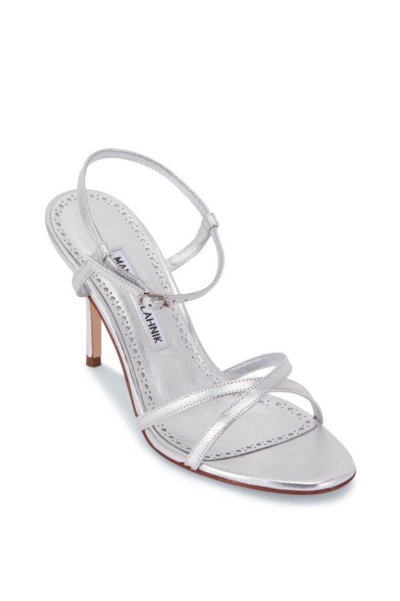 Manolo Blahnik Marguna Silver Leather Strappy Sandal, 90mm