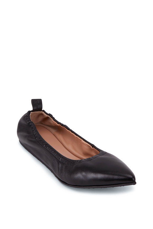 Gianvito Rossi Alina Black Leather Pointed Ballet Flat