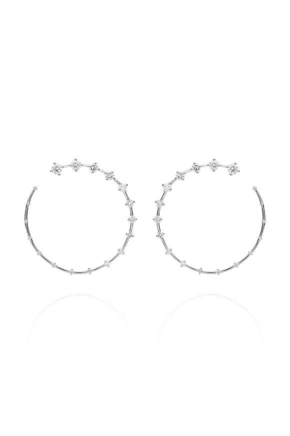 Fernando Jorge 18K White Gold Diamond Large Circle Earrings