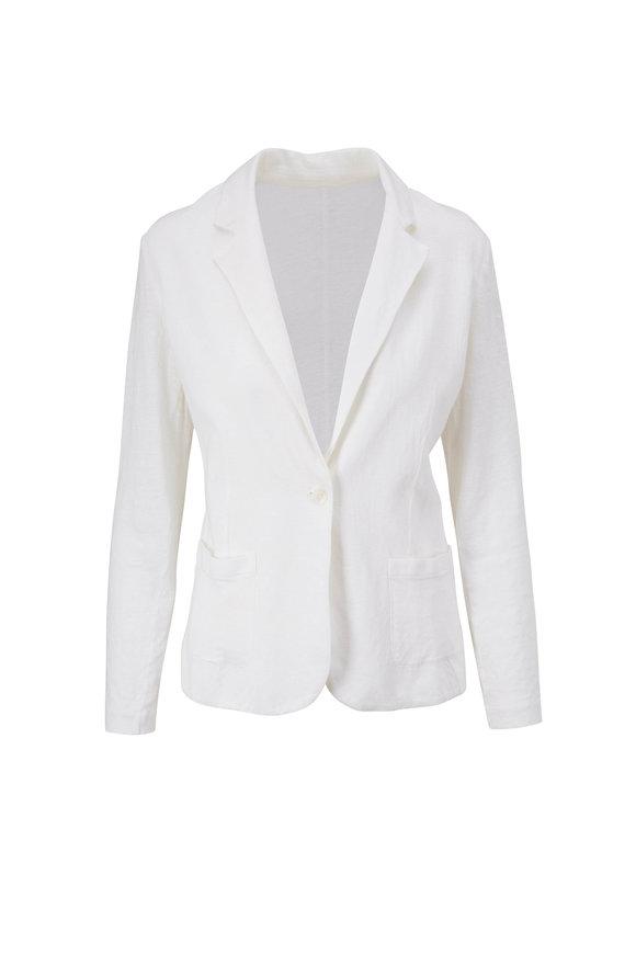 Majestic White Stretch Linen Single Button Blazer
