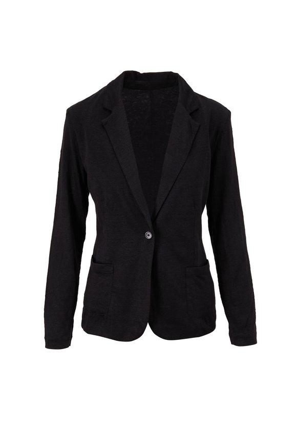 Majestic Black Stretch Linen Single Button Blazer