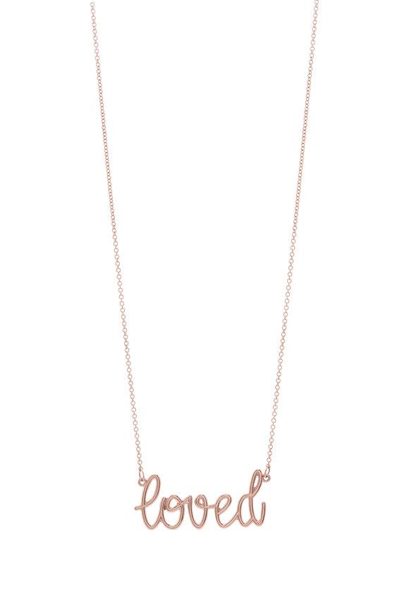 Genevieve Lau Rose Gold Script Loved Necklace