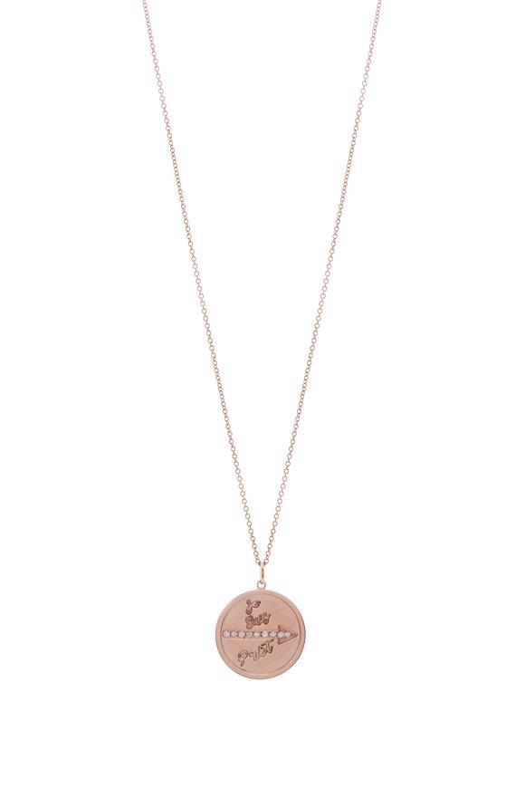 Genevieve Lau Rose Gold Diamond Arrow Pendant Necklace