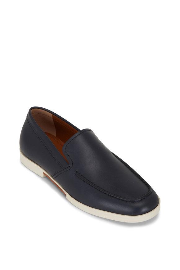 Ermenegildo Zegna Navy Blue Leather Loafer