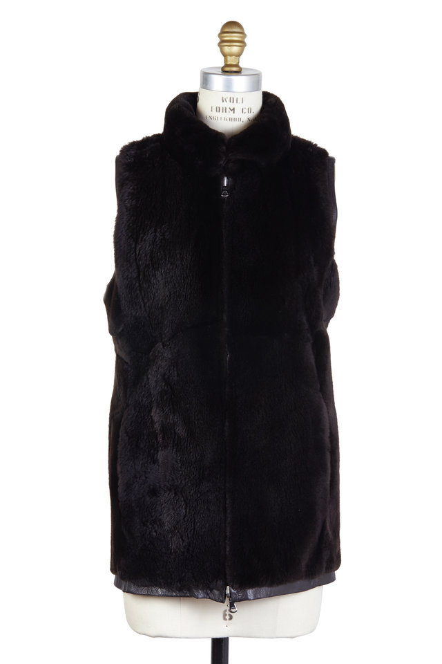 Brown Fur & Leather Reversible Vest