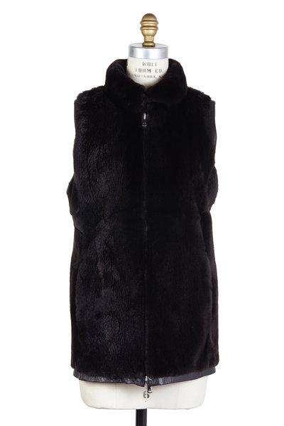 Oscar de la Renta Furs - Brown Fur & Leather Reversible Vest