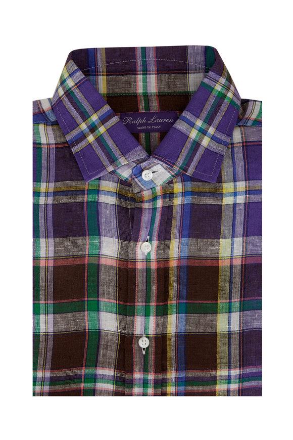 Ralph Lauren Brown & Purple Plaid Linen Sport Shirt