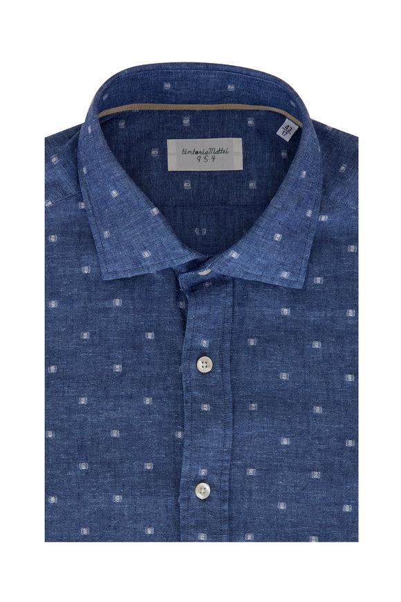 Tintoria Blue Square Print Sport Shirt