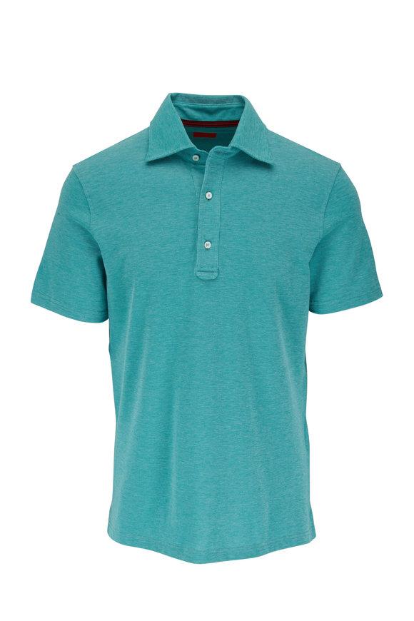 Isaia Teal Piqué Short Sleeve Polo