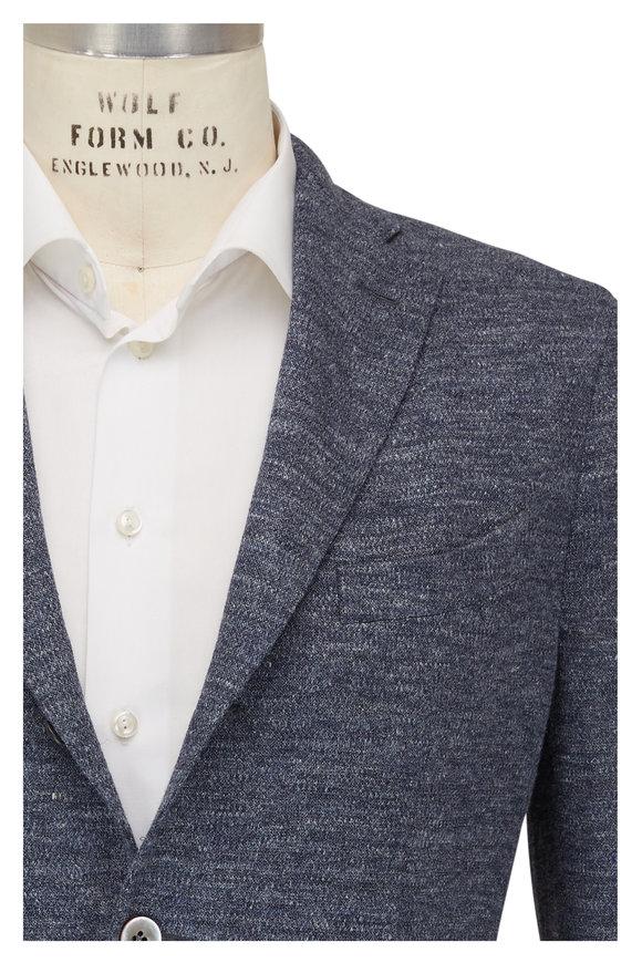 Boglioli Navy Linen Jersey Three Button Jacket