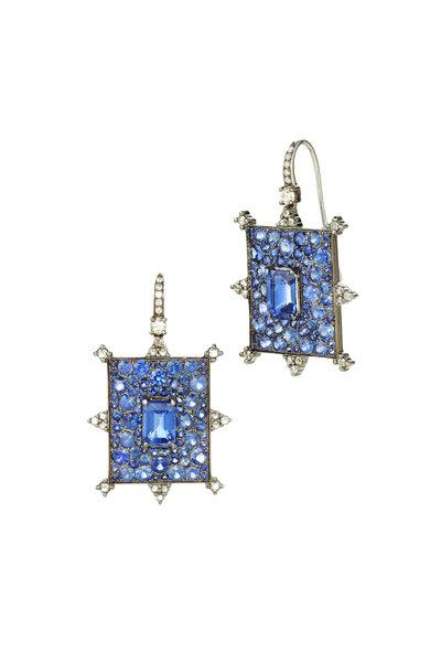 Nam Cho - Blue Sapphire Rectangle Bullseye Earrings