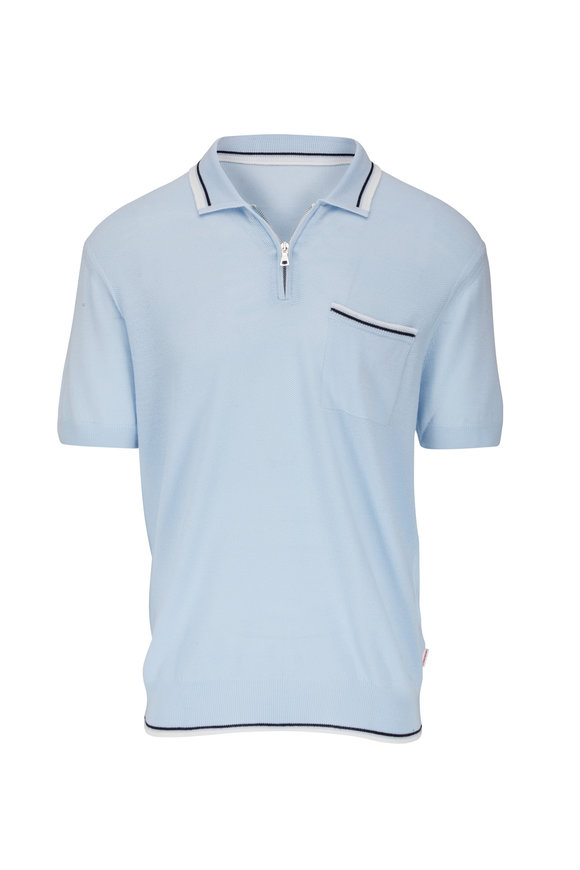 Orlebar Brown Rae Light Blue Wool Quarter-Zip Polo