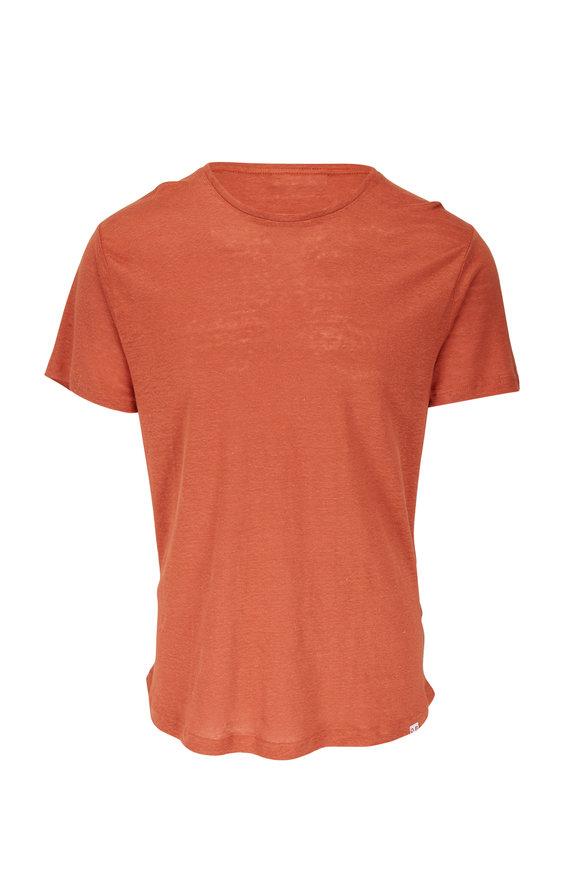 Orlebar Brown Vintage Rose Tailored Fit Crew Neck Linen T-Shirt