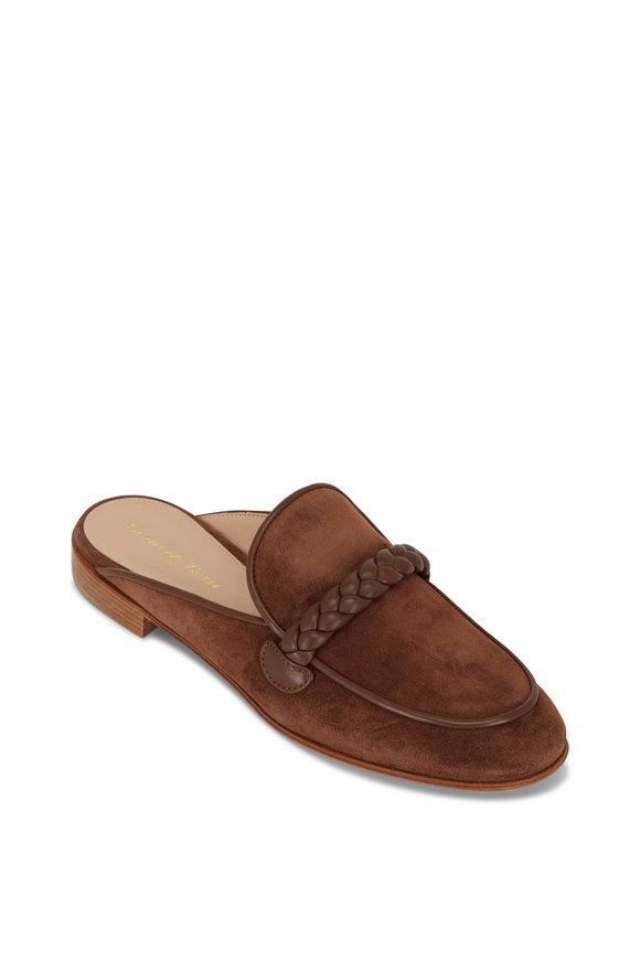 Gianvito Rossi Belem Cognac Texas Suede & Leather Braid Flat Mule