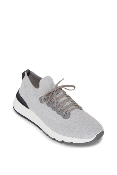 Brunello Cucinelli - Light Gray Cotton Knit Trainer