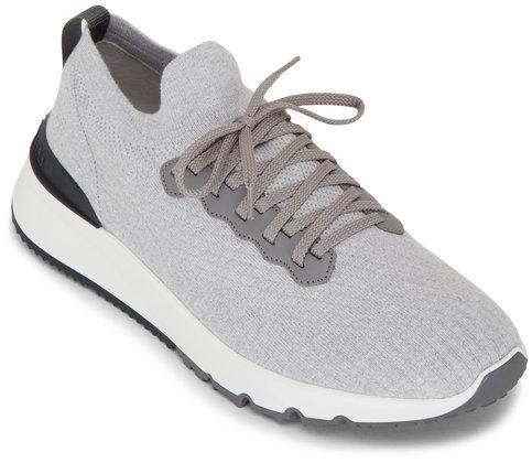Brunello Cucinelli Light Gray Cotton Knit Trainer