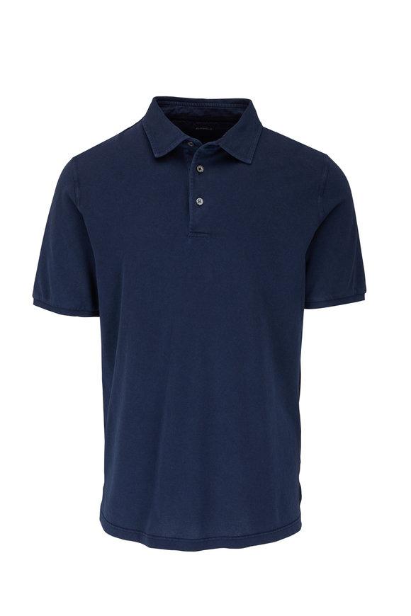 Fedeli Navy Cotton Short Sleeve Polo