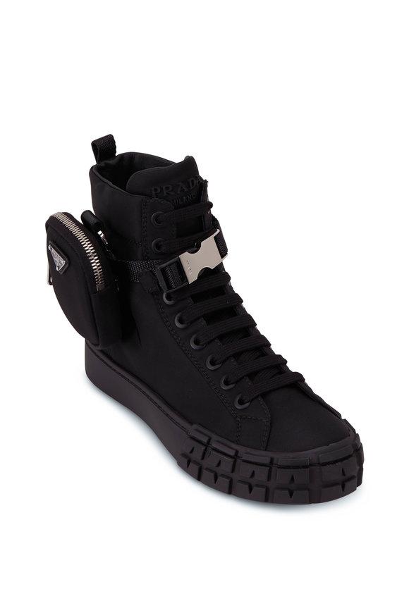 Prada Black Nylon High-Top Ankle Pouch Sneaker