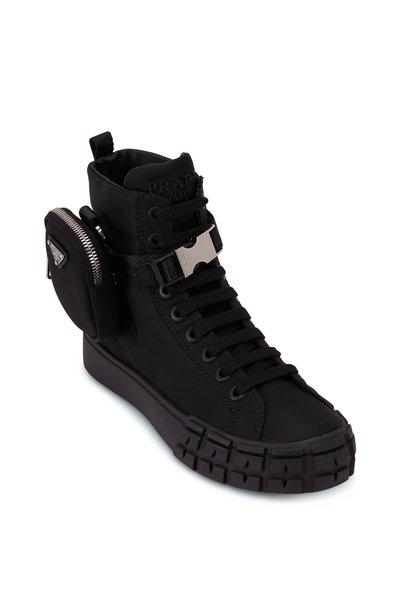 Prada - Black Nylon High-Top Ankle Pouch Sneaker