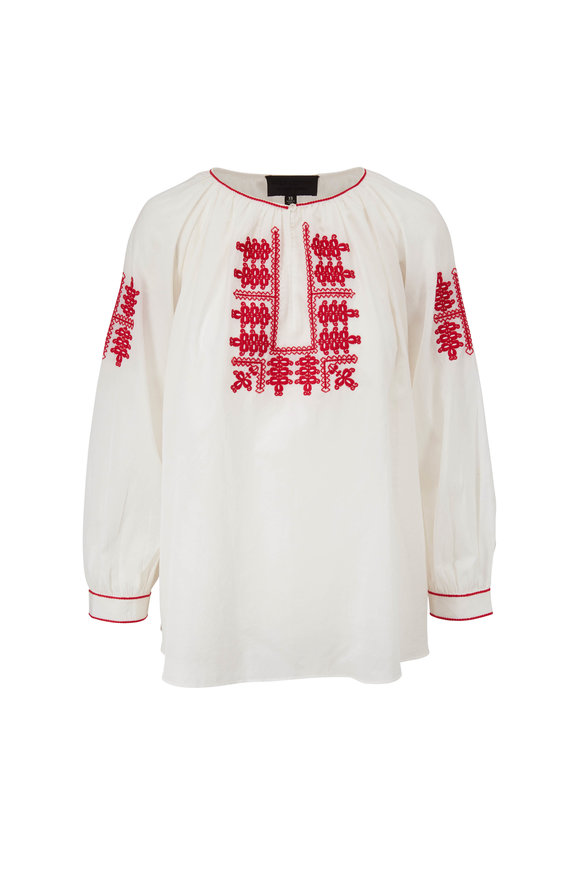 Nili Lotan Lanette Cream With Red Embroidery Top