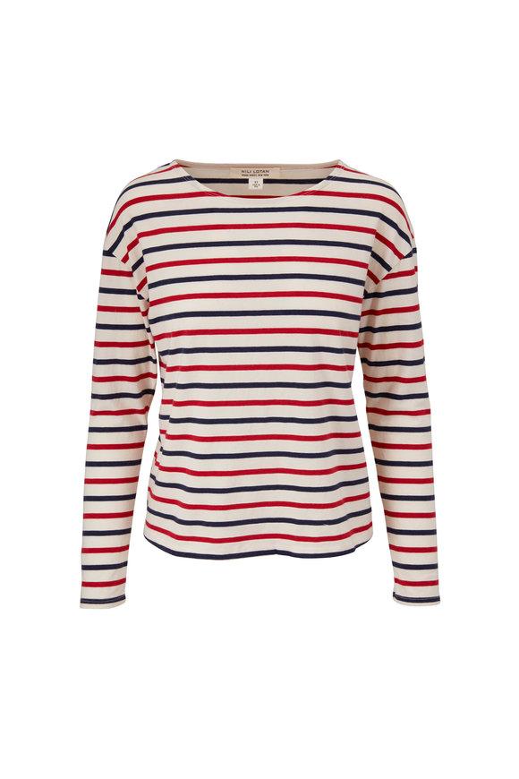 Nili Lotan Arlette Blue & Red Stripe Long Sleeve T-Shirt