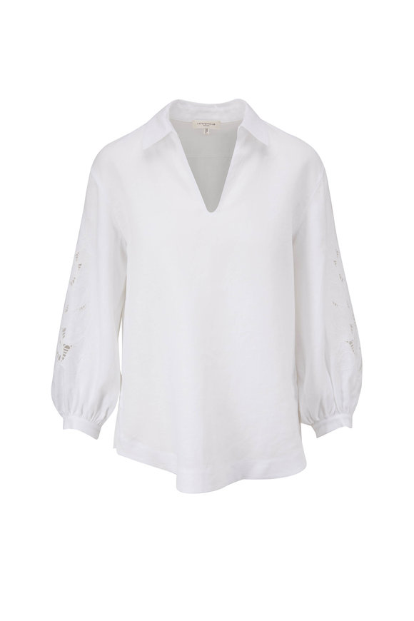 Lafayette 148 New York Parker White Embroidered Sleeve Blouse