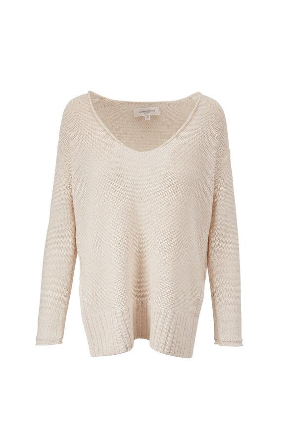 Lafayette 148 New York Cloud Lurex Micro Paillette V-Neck Sweater