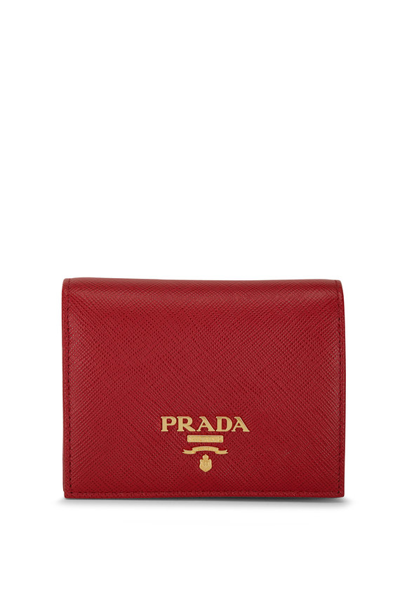 Prada Red Saffiano Leather Fold Over Wallet
